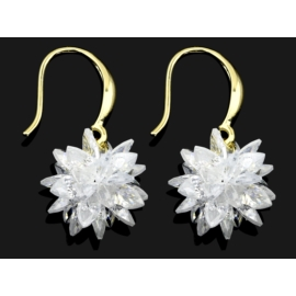 Kolczyki ślubne pozłacane - kryształy 2,4cm SK112