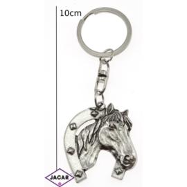 Brelok metal srebrny koń z podkową - BM20