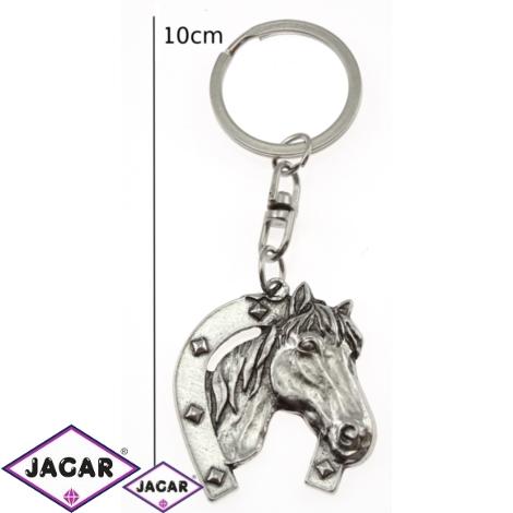 Brelok - srebrny koń z podkową - 12szt/op BM20