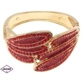 Bransoletka na rękę, sztywna złoto-czerwona BSZ38