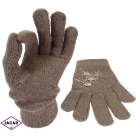 Rękawiczki damskie - kawowe - długość 24cm RK26