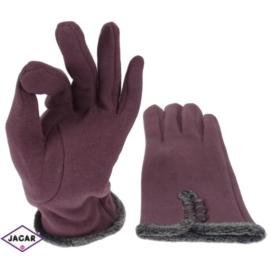 Rękawiczki damskie - śliwkowe - długość 24cm RK179