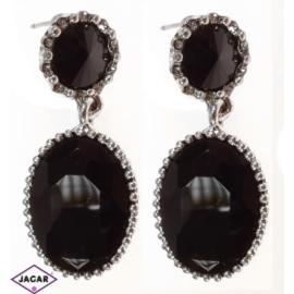 Kolczyki - czarny kryształ - długość 3,5cm EA4