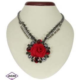 Naszyjnik - czerwony kwiat - obwód: 45cm NA63