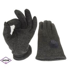 Rękawiczki damskie - szare - długość 24 - RK205