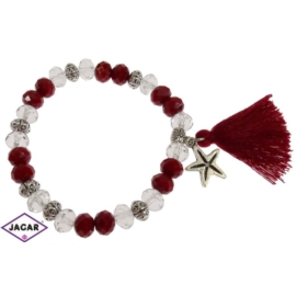 Bransoletka - czerwono-biała- śr: 7cm BRA36