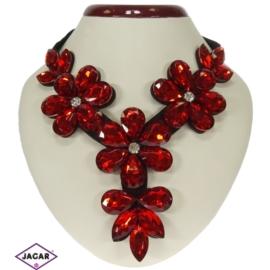 Naszyjnik - czerwone kwiaty - NA145