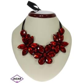 Naszyjnik - czerwone kwiaty - NA149