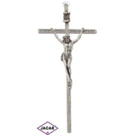 Krzyż metalowy - srebrny dł: 17cm