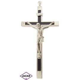 Krzyż metalowy - srebrny dł: 14cm