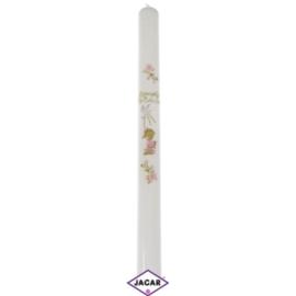 Świeca - pamiątka Chrztu Św. różowa dł:40cm SG10