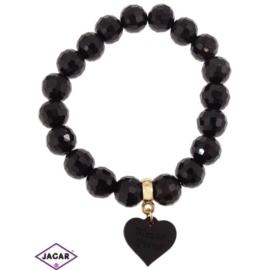 Bransoletka - czarna z sercem śr:6cm BRA182