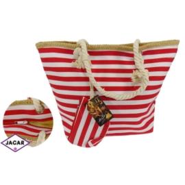 Torba plażowa - czerwono-biała - TOP7