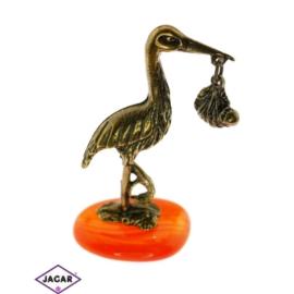 Figurka metalowa - bocian na kamyku - FR142