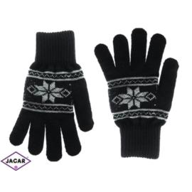 Rękawiczki męskie - alpejski wzór - czarne - RK270
