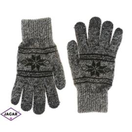 Rękawiczki męskie - alpejski wzór - brąz - RK271