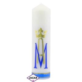 Świeca ołtarzowa - Symbol Maryjny - dł:23cm SG31
