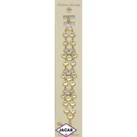 Bransoletka - złota z białymi kamieniami - dł.24cm