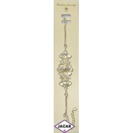 Bransoletka - srebrna z białymi kamieniami - 23cm