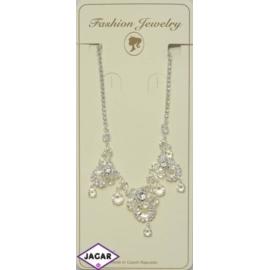 Naszyjnik - srebrny z białymi kamieniami