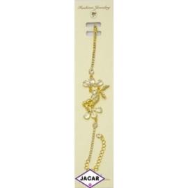 Bransoletka - złota z białymi kamieniami - dł.23cm