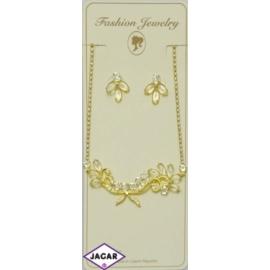 Naszyjnik i kolczyki - złoty z kamieniami