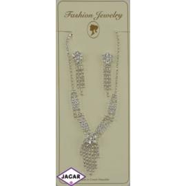 Naszyjnik i kolczyki - srebrny z białymi dżetami