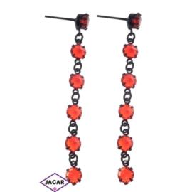Kolczyki - czerwony chanel - długość: 6,2cm KC53