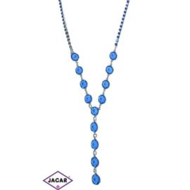 Naszyjnik - srebrno-niebieski - obwód do 44cm NC15