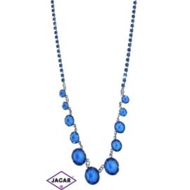 Naszyjnik - srebrno-niebieski - obwód do 44cm NC13
