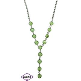 Naszyjnik - srebrno-zielony - obwód: do 44cm NC9