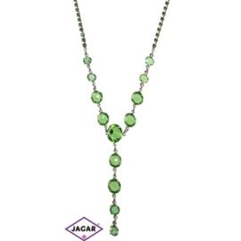 Naszyjnik - srebrno-zielony - obwód: do 44cm NC8