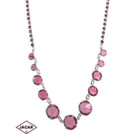 Naszyjnik - srebrno-różowy - obwód: 38cm-44cm NC5