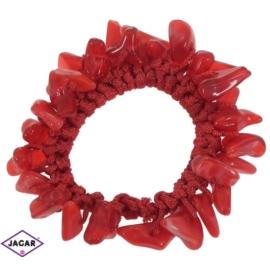 Gumka owijka - czerwona z kamieniami - OG7