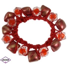 Gumka owijka - czerwona z ozdobami - OG12