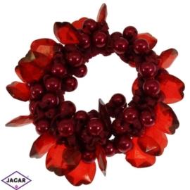 Gumka owijka - czerwona z ozdobami - OG34