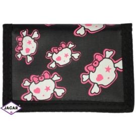 Portfel dziecięcy - czarno-różowy 11cmx7cm PD27