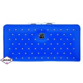 Portfel damski-niebieski z ćwiekami-18cmx9cm P67