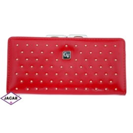 Portfel damski-czerwony z ćwiekami-18cmx9cm P69