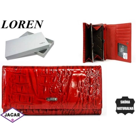Portfel damski skórzany -16cmx9cm 64003-RN Red