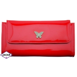 Portfel damski - czerwony lakier - 16cmx10cm P99