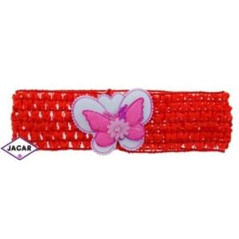 Ażurowa opaska z motylkiem - czerwona - OPA10