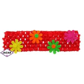 Ażurowa opaska z kwiatkami - czerwona - OPA24