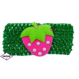 Ażurowa opaska z truskawką - zielona - OPA32