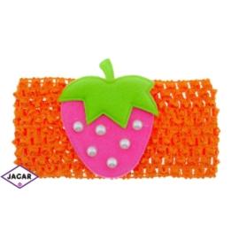 Ażurowa opaska z truskawką - pomarańczowa - OPA33