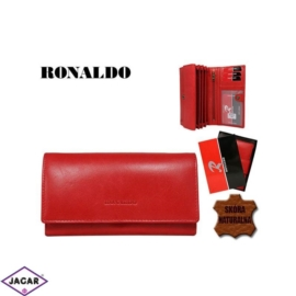 Skórzany portfel damski czerwony - Ronaldo - P143