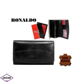 Skórzany portfel damski - czarny - Ronaldo - P141