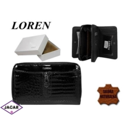 Portfel LOREN damski - skórzany - czarny - P149