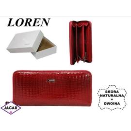 Skórzany portfel damski - czerwony - LOREN - P153
