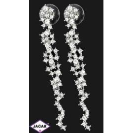 Kolczyki ślubne rodowane - kryształy - 7,3cm SK115